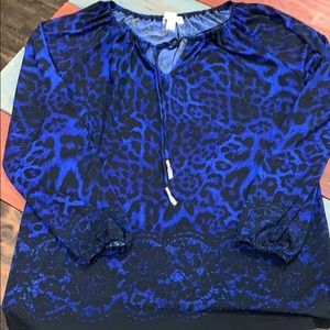Michael Kors Royal Regal Blue & Black Blouse